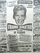 1946 newspaper w illustr AD - young FRANK SINATRA appears live @ DETROIT THEATER