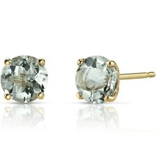 1.48 ct Round Green Amethyst Stud Earrings in 14K Yellow Gold