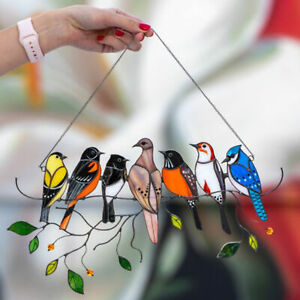 Wall Hanging Mini Stained Birds Patterns Acrylic Window Ornament for Home Useful