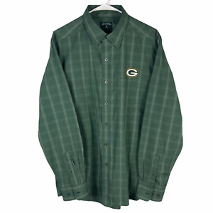 Green Bay Packers Button Front Shirt Men's Large Green White Check Cotton Blend