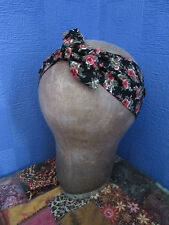Headband Head Scarf Hair Wrap Bow Rockabilly Vintage Retro Boho Floral Rose