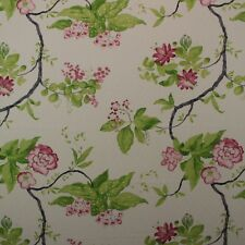 "HEIRLOOM IMPERIAL GREEN FLORAL VINE FINE BASKETWEAVE COTTON FABRIC BY YARD 54""W"