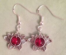 with Sterling Silver Ear Wires (or Gp) Lotus Flower w/Red Center Bead Earrings -