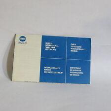 Minolta Maxxum 28mm f2.8 AF Lens International Warranty Certificate information
