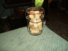 Vintage FLIP TOP GLASS AH JAR W/16 OLD WINE BOTTLE CORKS Unique Shelf Display !