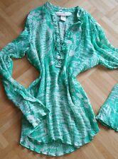 Seidenbluse H&M grün Gr.34 langarm mit floralem Muster 1x getragen