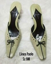 Linea Paolo Women's heels Leather Mule Green Bow shoes size 9M EU 42 UK 7 $129