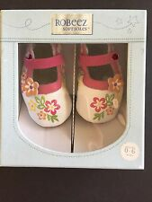 New ROBEEZ Infant Baby Girls Sandals 0-6m Floral Leather Mary Jane Shoes Booties