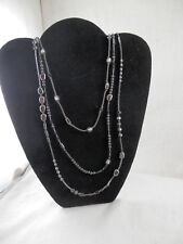 """Silpada Sterling Silver Beads & Hematite Triple strand Necklace  38"""" RETIRED"""