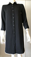 Ann Taylor New Womens XS Black Shirt Dress Button Front Collar White Piping