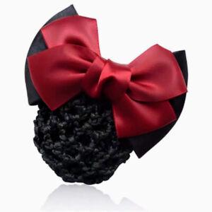 ERA Andrea  Hair Bow Barrette Bun Snood - Red & Black Satin