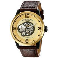 Stuhrling Legacy 648 Men's 43mm Automatic Brown Calfskin krysterna Watch 648.03