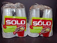 2 Packs Of 30 Solo Cups Squared Plastic Silver Gray 18 Oz 60 Total Cups New (i)