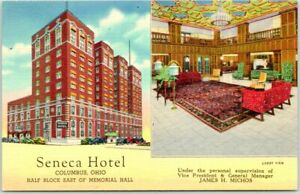 1940s COLUMBUS, Ohio Postcard SENECA HOTEL Street & Lobby Views Linen Unused