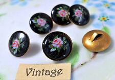 Vintage Glass buttons Japan Japanese Flowers Limoges Rose Black Pink OLD #1166H