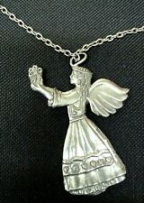 Lovely Vintage 1988 SEAGULL Canada PEWTER ANGEL Necklace Cherish Used