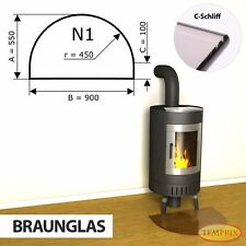 Temprix Funkenschutz & Glasbodenplatte   Braunglas Bodenplatte für Kamin & Ofen