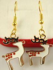 """18K gilded Hook -2.2""""Christmas deer Heart Fall In Love lightning Lady Earrings e"""