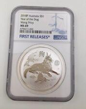 Rare 2018-P Australia Year of Dog 1 oz Silver Lunar Wang Privy $1 Coin NGC MS69