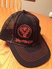 Embroidered Jagermeister Stag Cross Logo on Black Mesh Baseball Trucker Hat Cap