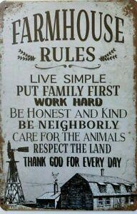 FARMHOUSE Rustic Metal Tin Sign Vintage Rustic Garage,  Bar & Man Cave Pub Cafe