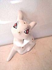 Christmas White Deer Reindeer Ceramic Resin Vintage Like Sitting Holiday Decor