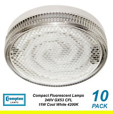 10 x 11W GX53 Compact Fluorescent Lamps / Globes / Bulbs 4200K Cool White CFL