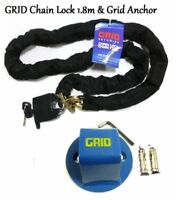 CHAIN LOCK 1.8M GRID GROUND/WALL GROUND ANCHOR MOTORCYCLE SCOOTER GRID SECURITY
