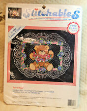 "Dimensions Stitchables Counted Cross Stitch LACY BEAR w/Frame 10"" x 6""  1993 NIP"