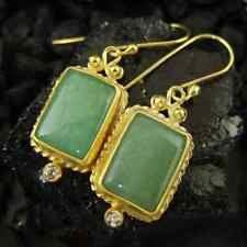Handmade Hammered Jade Earring W Zircon 22K Gold Over 925K Sterling Silver