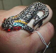 NEU Ring Gr. 18 Gr. 57 Gecko Salamander Lurch Echse Silber Kristalle GESCHENK