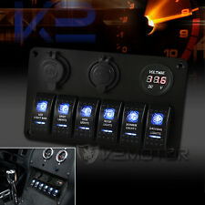 Car Marine Boat Waterproof Blue LED Rocker Switch Panel 6 Gang Breaker Circuit