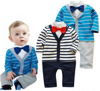 Baby Boys Long Sleeve Gentleman Romper Kids Bodysuit Clothes Set 3 6 9 12 18 24M