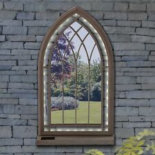 LED Lights Gothic Style Arched Window Garden Mirror Outdoor Illusion Arch Look
