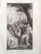 SAN ROMUALDO Grabado original XIX siglo SANTOS RELIGIOSOS A. SACOS