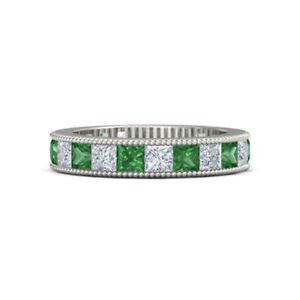 1.52 Ct Real Diamond Green Emerald 950 Platinum Wedding Bands Size L1/2 M N1/2 O