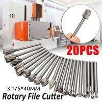 20pcs/Set Wood Milling Cutter Tool Carving Rasps Rotary File Burrs Bit Set Tool
