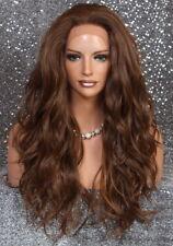 Deep Human Hair Blend Full Mono Lace Front Wig wavy Heat OK Long Auburn mix JSEU