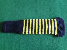 Knitted zebra style Fairway & Driver Golf Club head cover Navy / Yellow
