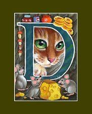 "Alphabet Cat ACEO Print Letter ""D"" by I Garmashova"