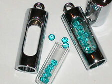 1 fillable Glass Pendant tube bottle vial charm locket NEW*~