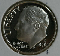 1996 S Silver Proof Roosevelt Dime Ten-Cent Coin 10c