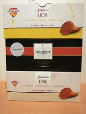 """Les véritables madeleines """"Jeannette"""" lot 3 boites de 8 citron, chocolat, amande"""