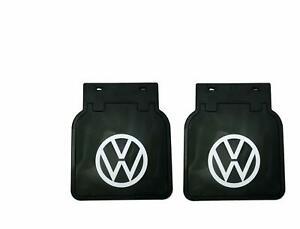 Volkswagen Kombi Bus VW Mud Flaps Kit Black with White VW Logo Pair