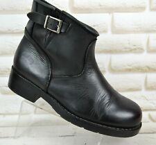 JOHNNY BULLS Womens Black Leather Ankle Biker Boots Slip-On Shoe Size 6 UK 39 EU