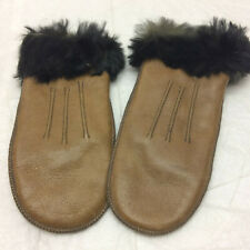 Vintage Childs Leather Fur Trimmed Mittens Baby Infant Newborn Small Cute Tiny