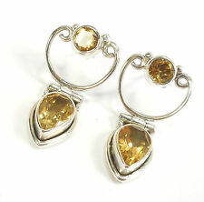 CITRINE 925 STERLING SILVER EARRINGS STAMPED ROUND PEAR CUT GEMSTONE 2.5 g