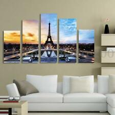 5 Panels Eiffel Tower Paris Canvas (No Frame) Print Wall Art Oil Painting Decor
