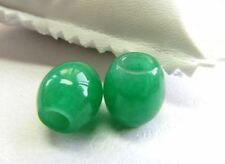 2pcs Imperial Chinese Grade a Full Rich Green Jade (jadeite) Lucky Bead Pendant