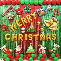 Christmas Balloons Foil Helium Ballons AirFill Latex Snowman Santa Party Deco